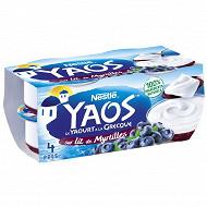 Nestle Yaos yaourt au lait entier sucré sur lit de myrtilles 4x125g