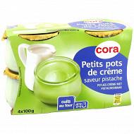Cora dessert lacté petit pot de crème saveur pistache 4x100g
