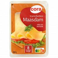 Cora 8 tranchettes de maasdam au lait pasteurisé 27%mg 200 g