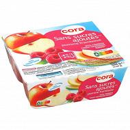 Cora spécialité de pommes framboises 4x97g sans sucres ajoutés