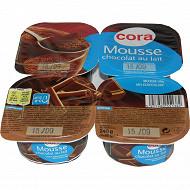Cora dessert lacté mousse au chocolat au lait 4x60g