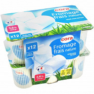 Cora fromage frais nature au lait 1/2 écrémé 3.6% MG 12 x 60g