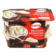 Cora mousse liégeoise dessert lacté au chocolat 4x80g