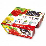 Charles & Alice spécialité de pommes fraises 4x100g sans sucres ajoutés