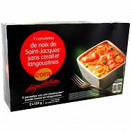 Cora dégustation 2 cassolettes St Jacques et langoustines 240g