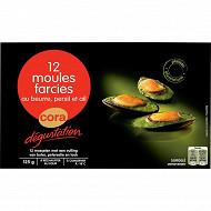 Cora dégustation 12 moules farcies au beurre persil et ail 125g