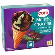 Cora 6 cônes menthe chocolat 720 ml - 432g