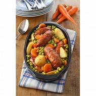 Saucisses de montbéliard cuisinées aux petits légumes