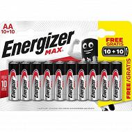 Energizer piles max alcaline AA 10+10