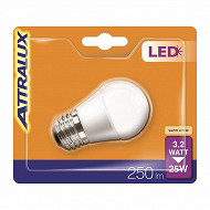 Attralux ampoule LED sphérique dépolie E27- 3.2 w équivalent 25 watts blanc chaud