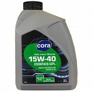 Cora huile moteur voiture multigrade 15W40 essence 2 litres