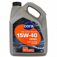Cora huile moteur voiture multigrade diesel 15W40  5 litres