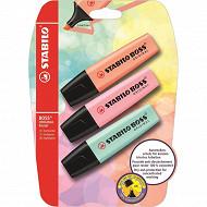 Stabilo boss 3 surligneurs original pastel peche rose et turquoise