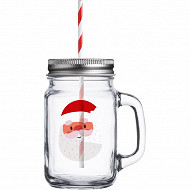 Drinking jar 450ml décor santa
