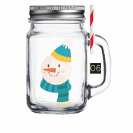 Drinking jar 450ml décor snowman