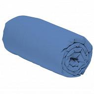 Drap housse 160x200 uni bleu polycoton