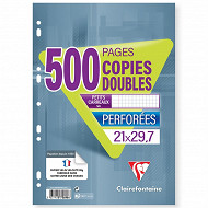 Clairefontaine copies doubles perforées 210x297 500 pages 5x5 90g