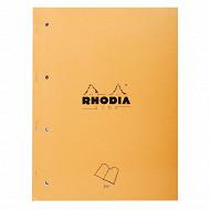 Rhodia - Cahier de notes agrafé 22.3x29.7 cm 160 pages détachables 5x5 perforées