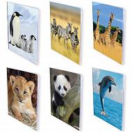 Animaux Sauvages cahier piqure seues carte vernie 24x32cm 96 pages 6 decors