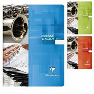 Clairefontaine cahier musique et chant piqûre 24x32 cm 48 pages seyes + musique 90 grammes