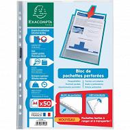 Exacompta 50 pochettes perforées polypropylene lisse 210x297
