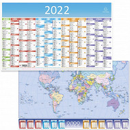 Exacompta calendrier grille recto 13 mois décembre à décembre 65x4.5 planisphère