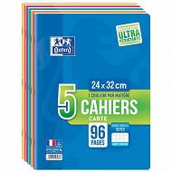 Oxford lot de 5 cahiers agrafé 24x32 96 pages 90 grammes