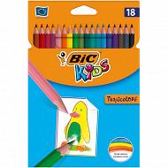 Bic tropicolors étui carton 18 crayons de couleur