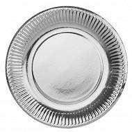 Cora assiettes x25 argent ronde 15cm