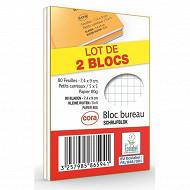 Cora lot de 2 blocs agrafé format a7 74 x 105 mm