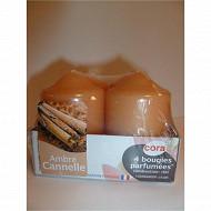 Cora bougies x4 D40H56 ambre canelle
