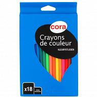 Cora - Boite 18 crayons plastique