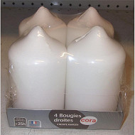 Cora bougie x4 blanc 58h100