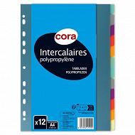 Cora 12 intercalaires 210x297 polypropylène translucide
