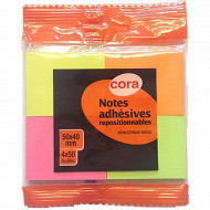 Cora  4 blocs notes repositionnables   - 4x50x40 mm- flowpack