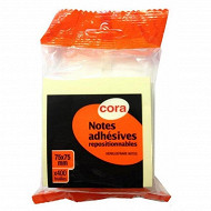 Cora cube notes repositionnables jaune 400 F flowpack