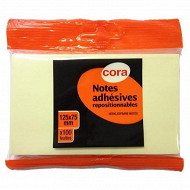 Cora bloc notes repositionnables jaune 100 feuilles 125x75 mm - flowpack