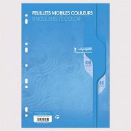 Feuilles simples perforées Bleu 21X297 100 pages seyes 80g Calli