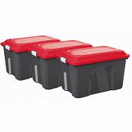 Sundis 3 malles de rangement 60L locker - noire/rouge