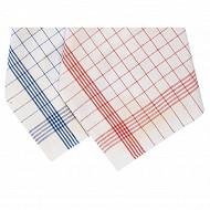 Lot de 6 torchons carreaux 50x70cm coloris bleu ou rouge
