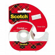 Scotch ruban adhésif super transparent 25 mètresx19 mm rouleau dévidoir