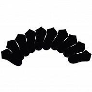 Lot de 10 paires de socquettes invisibles unies femme NOIR 37\41