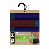 Lot de 3 boxers ligne Green Bio Dim BLEU DENIM/ROUGE VIN/BLEU D T6