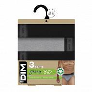 Lot de 3 slips ligne Green Bio Dim NOIR/GRIS PERLE/NOIR T6