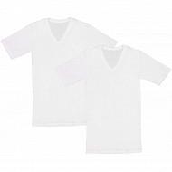 Lot de 2  tee shirts manches courtes col V BLANC T7