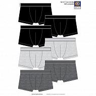 Lot de 7 Boxers Influx Basic LOT GRIS/NOIR T3