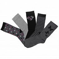 Lot de 5 paires de mi chaussettes fantaisies et unies influx basic PAPILLONS/COEUR/POIS 37\41