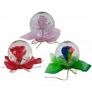 Boule de verre avec fleur de rose coloris assortis