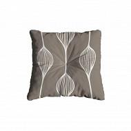 Coussin carré flock 38x38x6 cm polycoton/lustrasil elunia taupe