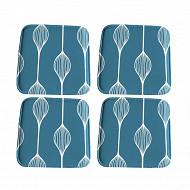 Anjosa lot de 4 galettes 40x40x1.7 cm polycoton lustrasil elunia bleu